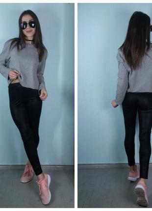 Кофта с окантовкой ,кроп-топ,пуловер темно-серая - zara4
