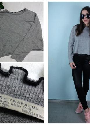Кофта с окантовкой ,кроп-топ,пуловер темно-серая - zara2