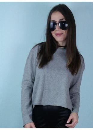 Кофта с окантовкой ,кроп-топ,пуловер темно-серая - zara5