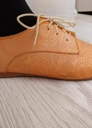 Кожаные туфли балетки мокасины