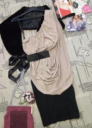 Изящное вечернее, коктейльное платье с драппировкой цвета пудры! размер xs-s