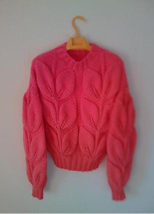 Вязаный женский свитер джемпер с большими листьями листья ручная работа