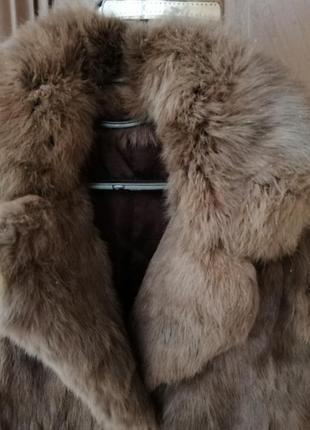 Натуральная шуба, кролик, коричневого, шоколадного цвета, xs
