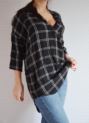 Женская рубашка свободного кроя в клетку чёрная saint tropez