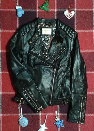 Демисезонная короткая куртка-косуха vs.miss, утепленная, на молнии, s/xs