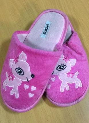 Тапочки на девочку розовые с оленями