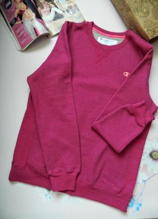 Тёплая фирменная толстовка champion  спортивная кофта розового цвета с утеплителем р.l