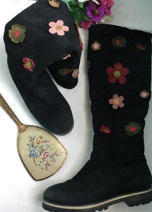 Длинные кожаные сапоги mallanee зима