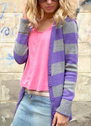 Вязанный шерстяной кардиган/кофта серого и фиолетового цвета