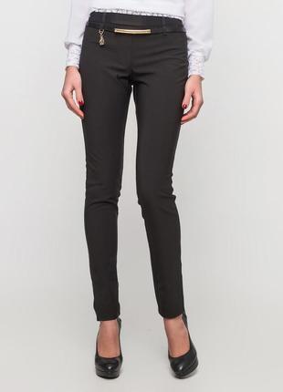 Черные зауженные классические брюки штаны скинни с флисом на флисе бедра 90-92 см