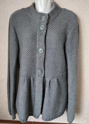 #теплая кофта#кардиган#трикотаж#серый#недорого#р48-50