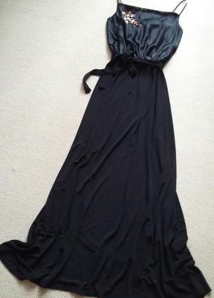 Красивое платье длинное в пол шелк и вискоза р 8