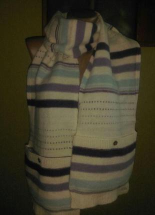 Красивый шерстяной шарф с карманами акция