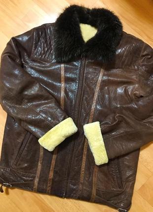 Зимняя кожанная куртка натуральная овчина воротник бобер arber l