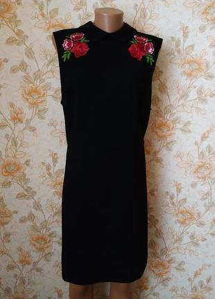 Шикарное платье черного цвета с красивой вышивкой. на бирке-20 р-р(54).
