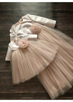 Пышное фатиновое платье мама-дочка
