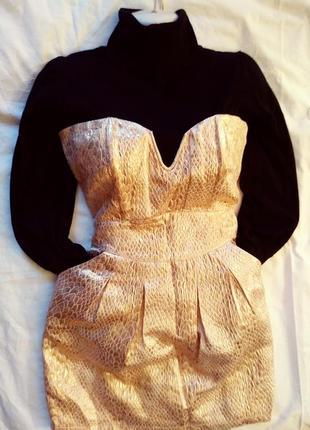 #богемный комплект # корсетное платье #золотая парча +#черный#водолазка