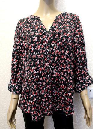 100% коттон! крутая рубашка оверсайз в мелкий цветочек. 44-48