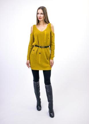 Cameo rose (new look)  стильный горчичный ,свитер-платье ,с открытыми плечами