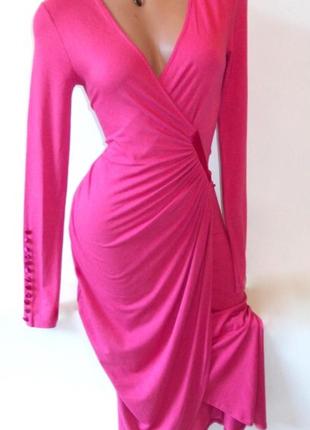 Платье миди на запах нарядное вискоза