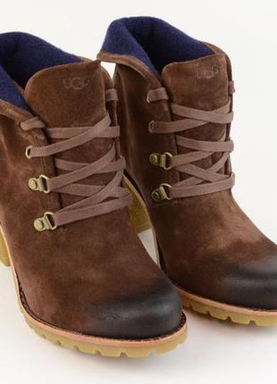 Зимние кожаные ботильоны womens ugg australia boots 12 dark brown ботинки сапоги
