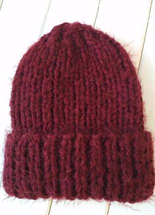 Зимняя теплая вязаная полушерстяная шапка с отворотом шерсть-мохер-60