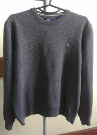 Gant  мужской свитер  basic  wool crew dark grey melange