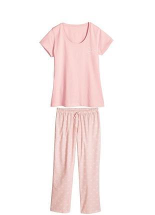 Нежно-розовая женская пижама домашний костюм esmara германия, футболка штаны