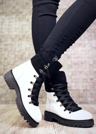 Рр 36-40 зима натуральная кожа+замш люксовые контрастные черно-белые ботинки
