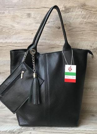 Женская  кожаная итальянская сумка шоппер большая вместительная черная