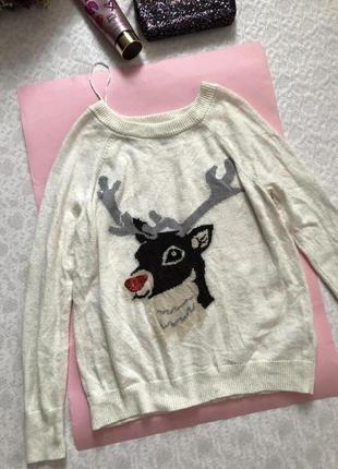 H&m свитерок новогодняя тематика , альпака  s - размер