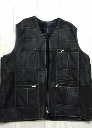 #кожаный жилет# большой размер# цвет черный#