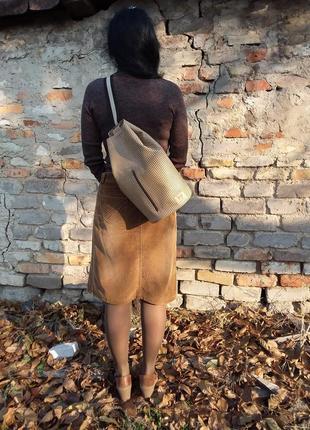 Натуральная кожа. принт гленчек или гусиная лапка. рюкзак - ведро, сумка - ведро