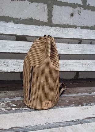 Натуральная кожа. сумка - ведро, рюкзак с принтом гусиная лапка или гленчек