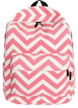Рюкзак розовый принт зигзаг орнамент вместительный тканевый