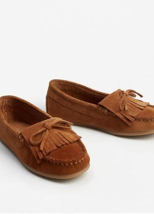 Туфли мокасины mango натуральный замш