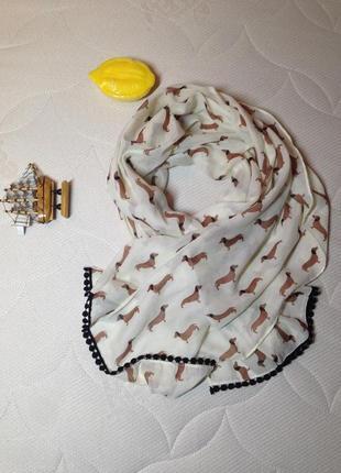 Шарф с таксами,актуальный шарф,палантин,шаль