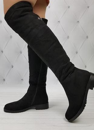 Новые черные зимние замшевые сапоги ботфорты размер 36-40