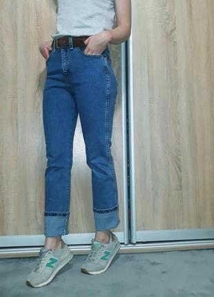 Винтажные синие джинсы прямого кроя с высокой посадкой wrangler