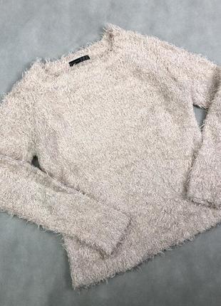Пушистый свитер пуловер нежно-розовый волосатый