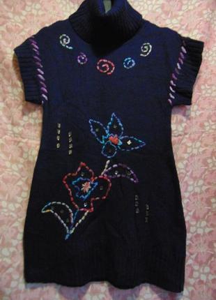 Вязаное платье, туника с вышивкой, италия.