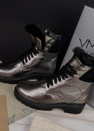 2ba4e4f4f Модные женские зимние серебристые кожаные ботинки на низком ходу язычок с мехом  37,40,411 фото ...