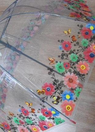 Прозрачный зонт трость цветы