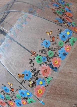 Прозрачный зонтик трость синие цветы