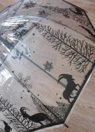Прозрачный зонт трость зимний лес
