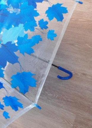 Прозрачный зонт трость синие листья