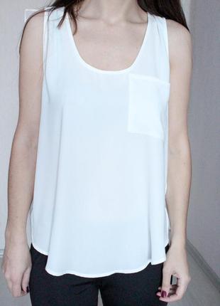 Белая шифоновая майка с интересной спинкой xl vero moda
