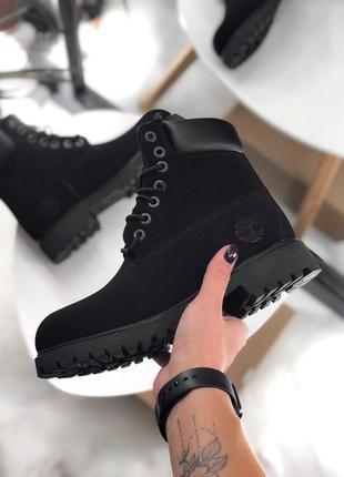 Шикарные женские зимние ботинки timberland black fur с мехом!
