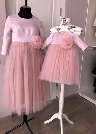 Платье роза мама-дочка
