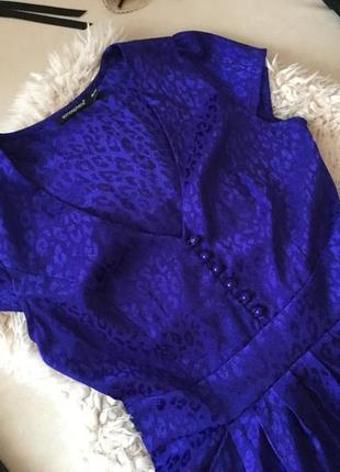 Платье atmosfere , безупречное платье цвета электрик с леопардовым принтом и кармашками💋